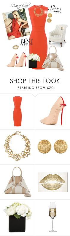 """""""Time to be elegant for tonight"""" by kercey ❤ liked on Polyvore featuring Victoria Beckham, Casadei, Oscar de la Renta, Versace, Akris, Oliver Gal Artist Co., Bungalow 5 and Krosno"""