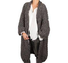 Soon online..grey/taupe long kimono handknit