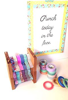 washi tape holders - Punch today in the face Washi Tape Storage, Craft Storage, Tape Crafts, Diy Crafts, Washi Tape Dispenser, Tapas, Office Paper, Office Art, Scrapbook Storage