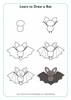 How to draw animls learn to draw a bat 2 draw animals easy . Easy Animal Drawings, Easy Doodles Drawings, Easy Doodle Art, Easy Drawings For Kids, Cute Doodles, Art Drawings Sketches, Drawing For Kids, Simple Cute Drawings, Draw A Bat