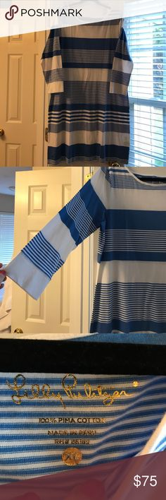 Lilly Pulitzer Marlowe Dress Coconut Stripe Blue NEW WITH TAGS Marlowe Dress in Coconut Stripe Bay Blue. XL Add to a bundle for a private discount! Lilly Pulitzer Dresses