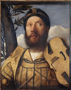 Giovanni de Busi known as Cariani (1485-1547): Portrait of a viola player (1512-1515), oil on canvas.
