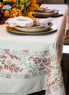 thanksgiving stencil tablecloth harvest border, crafts, painted furniture, painting, seasonal holiday decor, thanksgiving decorations - How to Stencil a Thanksgiving Table Runner with Royal Design Studio stencils