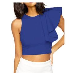 Cocktail Club One-shoulder Ruffle Crop Top Material : Polyester + Spandex Ruffles, Zip,One-Sleeved,Casual, Brief, Cute Season: Summer,Spring,Autumn,Winter Machine Washable/Cold Water Small is US 4-6, medium is 8-10, large is 12-14 Tops Crop Tops
