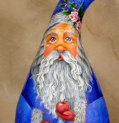 Misty Night  Hand Painted Santa Gourd by InspiredEndeavours, $295.00