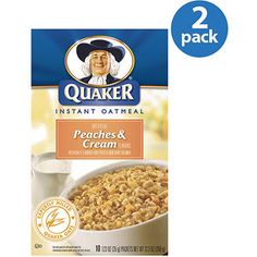 Quaker Peaches & Cream Instant Oatmeal, 12.3 oz (Pack of 2)