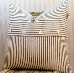 Sewing Pillows Blue Ticking Pillow Cover - Nothing is more special that handmade Christmas Gifts, but who says you have to be the one to make them! Here are some handmade Christmas Ideas! Sewing Pillows, Diy Pillows, Couch Pillows, Throw Pillows, Pillow Ideas, Hotel Pillows, Cushion Ideas, Diy Cushion, Diy Pillow Covers