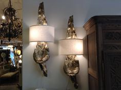 Fabulous Vintage Silver Leaf Driftwood Sconces Two by FMFCompagnie