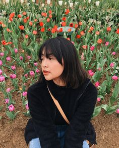Image may contain: 1 person, flower, plant, outdoor, nature and closeup Super Excited, Ulzzang Girl, Hair Inspo, Seoul, Poses, Guys, Image, Instagram, Queens
