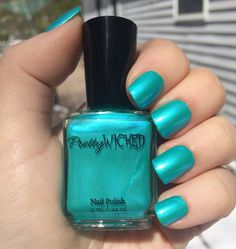 This listing is for a metallic aqua nail polish.  -Two coats to opacity.  -Top coat recommended for a glossy appearance.  -Metallic sheen
