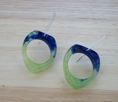 Unconventional & Unique Yellow and Blue Dangle Earrings by karinadelirio on Etsy