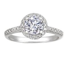 Halo Diamond Ring with Side Stones (1/3 ct.tw.)