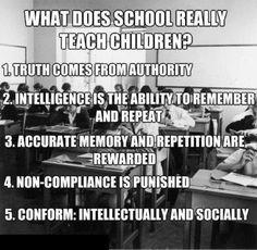 学校では、実際、子供達に何を教えるか?  1.権威からの真実  2.記憶力と繰り返す能力の知恵  3.正確な記憶と繰り返しが報われるということ  4.不適合は罰せられるということ  5.知的にも社会的にも従うということ  確かに、学校じゃ一人一人の個性や考えなんか重要ではなく、如何に集団の中で、決められたカリキュラムを上手くこなせるかが重要となる。  如何に金太郎飴を大量生産するか・・・そんな所だったな。