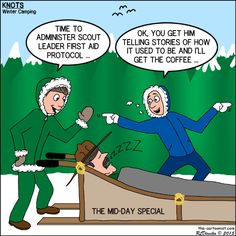 Winter Camp Scout Leader First Aid - KNOTS Scout Cartoon for January 2015