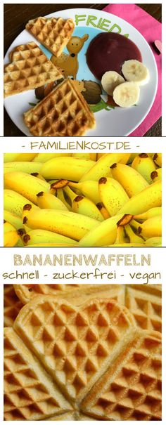 Banana waffles without sugar , Delicious recipe for vegan waffles without sugar and without egg, which are wonderful for children, the baby and the whole family. The waffles get the. Baby Food Recipes, Vegan Recipes, Waffel Vegan, Banana Waffles, Baby Snacks, Vegan Baby, Finger Foods, Kids Meals, Healthy Snacks