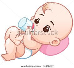 Vector Illustration Cartoon Cute Baby Take Stock Vector (Royalty Free) 532461070 - Vector Illustration of Cartoon baby holding a milk bottle.Baby infant eating milk The Effective Pic -