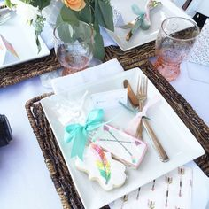 Pretty place settings at a boho chic baby shower party! See more party planning ideas at CatchMyParty.com!