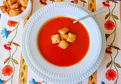 Comfort (Recipe:Homemade Tomato Soup and  Herb Cheese Biscuit Croutons)
