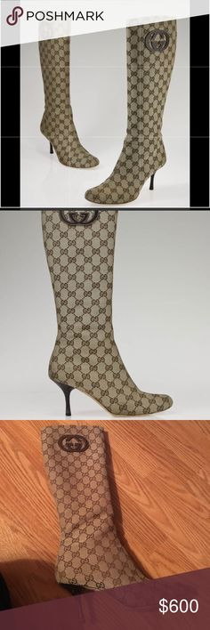 """Authentic Gucci canvas monogram boots! Comes with dust bag and original box. Very sought after logo canvas. Purchased at Neiman Marcus. Scuffs on heels as shown in the pictures. Approx 2"""" heel height.   Authentic Gucci boots in signature canvas. Tan with brown logo GG canvas. Side zip with logo zipper pull. Leather lined. Rounded toe.   ALL ITEMS ARE 💯 AUTHENTIC. Gucci Shoes Heeled Boots"""