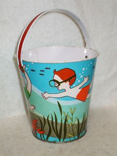 "J. Chein ""Kids Swimming Underwater"" Tin Sand Pail"