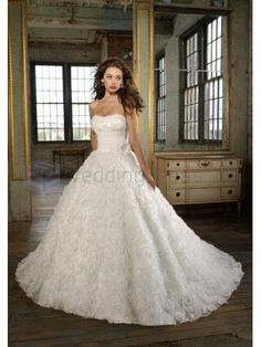 Ball Gown Organza Ruching Corset Bodice Strapless Neckline Chapel Train Wedding Dresses