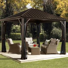 Exterior: Stylish Aluminum Roof Gazebo With Black Rattan Sofas And Elegant Coffee Table Also Metals And Garden Gazebo Buckingham Metal Frame Luxury Gazebo Mosquito Net Side Curtains from Modern Metal Gazebo