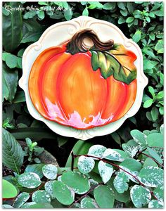 Orange Pumpkin Plate Flower Garden Stake  by GardenWhimsiesByMary, $30.00