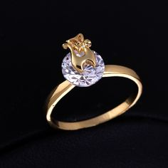 Charming 18K Gold Plated Cat Shape Copper Finger Ring Inlay Big Round White Zircon Full Sizes