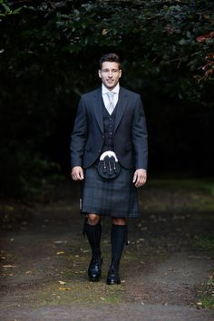 Our Silver Mist exclusive tartan is a popular choice for those searching for a more modern kilt outfit, the black and grey tones in the tartan are suited to all wedding colour schemes and completely versatile.
