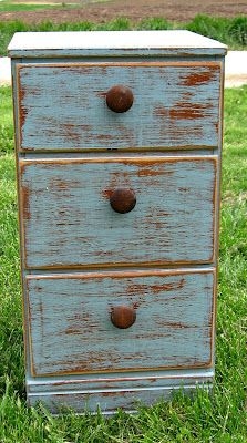 Distressed Dresser in Blue Chalk Paint, salvaged wood pulls and scrapbook paper draw lining. Photo 1 of 3