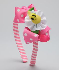 Take a look at this Pink & White Polka Dot Bee Headband Set by Picture Perfect Hair Bows on #zulily today!