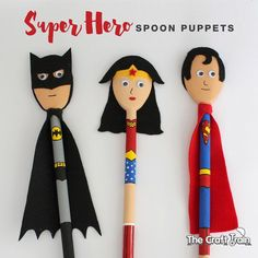Super Hero Spoon Puppets - Womens Batman - Ideas of Womens Batman - Super Hero Spoon Puppets using wooden spoons created to look like Batman Wonder Woman and Superman Wooden Spoon Crafts, Wooden Spoons, Puppet Crafts, Doll Crafts, Cool Diy, Diy Yarn Dolls, Homemade Puppets, Papa Tag, Projects For Kids