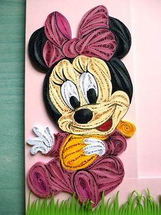 Papírvilág: quilling Minnie egér képkereten / quilled Minnie mouse on photo frame