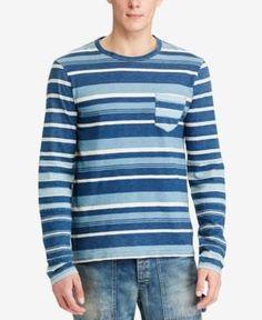 Polo Ralph Lauren Men's Custom-Fit Striped Long Sleeve T-Shirt - Navy XXL