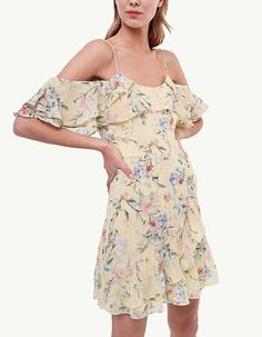 Yellow Floral Print Off Shoulder Elegant Mini Dress – modevova ,dresses little,short dress,pretty casual dresses, Mini Dresses For Women, Dresses For Sale, Mini Dress With Sleeves, Clubwear, Outfit, Casual Dresses, Floral Dresses, Bodycon Dress, Prom Dress