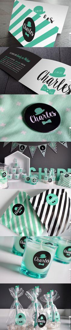 Mintgreen geboortekaartje, stickers, vlaggetjes en pin voor Charles! Designed by…