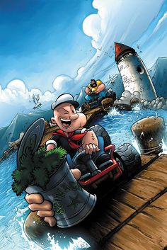 """Existe una leyenda urbana que afirma que la espinaca consumida por Popeye es realmente una droga. Dana Larsen, un activista canadiense que está a favor de le legalización del cannabis escribió un artículo refiriéndose al tema. Larsen explica que durante los años 1920 y 30, periodo en que el personaje fue creado, la palabra """"espinaca"""" era utilizada como sobrenombre de la marihuana. Old Cartoons, Classic Cartoons, Animated Cartoons, Comic Character, Cartoon Characters, Cartoon Art, Childhood Characters, Popeye Olive Oyl, Popeye The Sailor Man"""