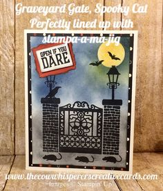 Graveyard Gate, Spooky Cat, Halloween, Halloween Party Invitation, Stamp-a-ma-jig, Stampin Up, Card