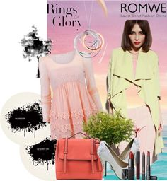 """""""Layered Lace Pink Blouse"""" by romwe ❤ liked on Polyvore"""