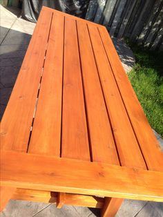 4x4 Truss Beam Table | Staining Outdoor Wood Table