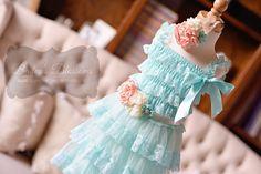 Little Lady Aqua & Peach Lace Dress Gift Set