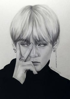 ❤❤❤ Credit to artist K Pop, Kpop Drawings, Pencil Drawings, Bts Art, Korean Art, Bts And Exo, Kpop Fanart, Bts Taehyung, Jimin