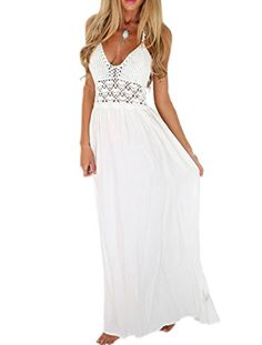 Women's Halter V-Neck Sleeveless Cutout Waist Open Back Plain Maxi Dress The latest fashion trends you can totally do your thing in, with of new styles landing every day! Boho Summer Dresses, White Maxi Dresses, Beach Dresses, Elegant Dresses, Casual Dresses, Dress Summer, Long Dresses, Wedding Dresses, Spring Summer
