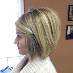 Pretty balayage highlights done at Salon Bella Vi in Plymouth Mi. Short hair. Short aline bob :)
