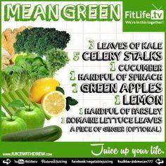 'Mean Green' Detox Juice Recipe #Health #Cleanse #Detox #Natural #Holistic