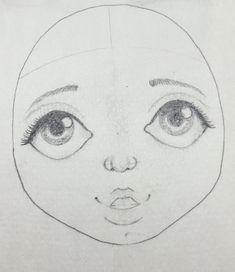 """Résultat de recherche d'images pour """"dessin de visage de poupee"""""""