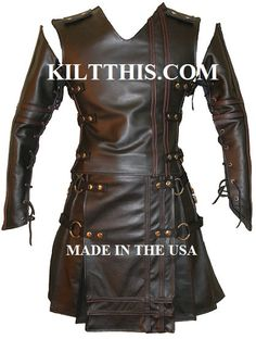 Utility Kilt Black Leather Suit The Double Cross Leather Sleeves Vest and Kilt INTERCHANGEABLE PARTS. $1,350.00, via Etsy.