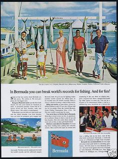 1966 Bermuda Travel Photo Fish Fishing Stories Print Ad