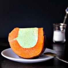 Thai steamed pumpkin with egg coconut milk custard