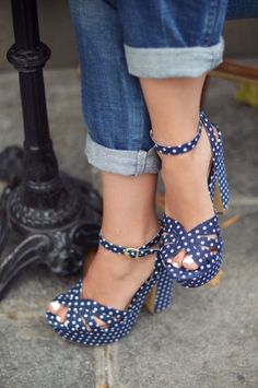 d2e0222e77976 Navy and White Ankle Strap Sandals Polka Dots Chunky Heel Sandals image 1